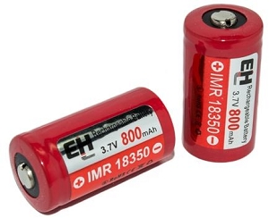 IMR 18350 LiMn 800mAh Battery (Flat Top)